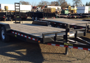 Big Tex model 14ET tandem axle equipment trailer 14,000 lb. GVW 7'wide x 20'long front curbside view