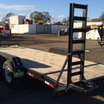 Big Tex model 14ET tandem axle equipment trailer 14,000 lb. GVW 7'wide x 20'long rear roadside view