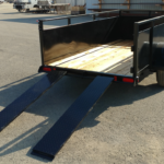 Summit Mfg Alpine 5x10 Landscape Utility Trailer Gate Open Ramps Out Rear View