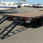 Summit 14K 8.5x20 Over Axle Trailer Ramps Out Rear Curbside View