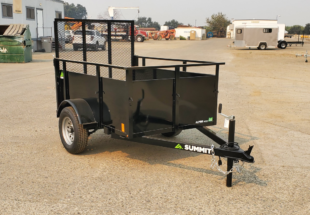 Summit Mfg Alpine 4x6 Landscape Utility Trailer Front Curbside View by Johnson Mfg Woodland CA
