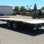 Summit 10OA-20-CAS-SPMT-DT-SRAMPS 10K tandem, over axle trailer with slide out ramps, front rub rail and radial tires rear rs view