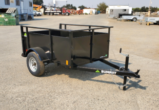 Summit brand 19SV-6-ALP-LTSP utility trailer with solid sides light-speed rear gate and radial tires in a 4'x6' configuration front cs view