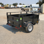 Summit brand 19SV-6-ALP-LTSP utility trailer with solid sides light-speed rear gate and radial tires in a 4'x6' configuration rear cs view