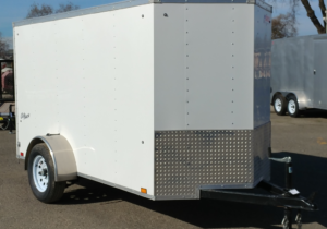 Pace American Outback 5x10 Cargo Trailer Single Rear Swing Door Front Curbside View
