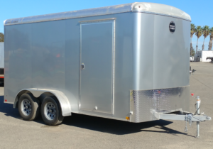 Wells Cargo Road Force 7x14 Cargo Trailer Rear Ramp Door Front Curbside View