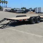 Summit Trailers 14ET-20-CAS-GRY rear CS view with rear ramps out