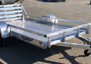 Triton FIT1064 aluminum utility trailer 5ft x 10ft with side rails curbside front view